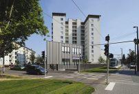 On the Avenue du Neuhof, ground level activities shelters the Maison Urbaine de la Santé (Urban House of Health)
