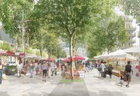 Avenue du Parc offers a new relation between the city, Villeneuve and the park and welcomes farmer markets and commercial activities.